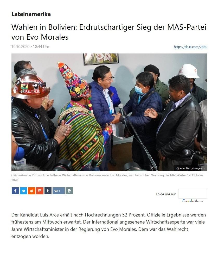 Lateinamerika - Wahlen in Bolivien: Erdrutschartiger Sieg der MAS-Partei von Evo Morales - RT Deutsch - 19.10.2020