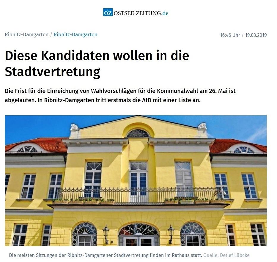 Die Wahlvorschläge für die Stadtvertretung Ribnitz-Damgarten zu den Kommunalwahlen in Mecklenburg-Vorpommern am 26. Mai 2019 - veröffentlicht in der Ostsee-Zeitung am 20. März 2019 - 1