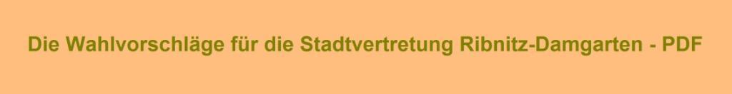 Die Wahlvorschläge für die Stadtvertretung Ribnitz-Damgarten zu den Kommunalwahlen in Mecklenburg-Vorpommern am 26. Mai 2019 - PDF