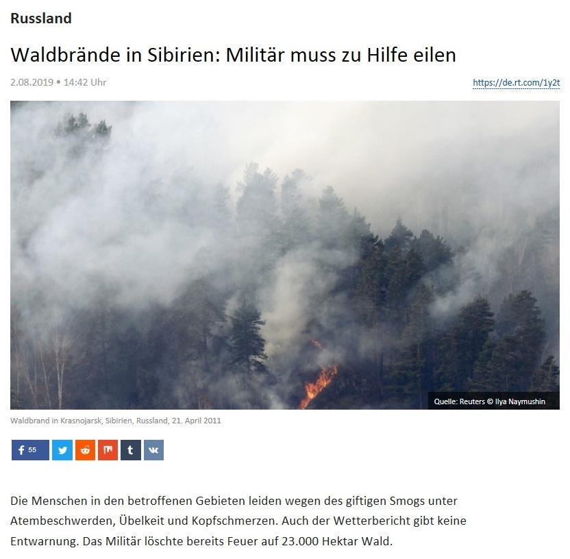 Russland - Waldbrände in Sibirien: Militär muss zu Hilfe eilen
