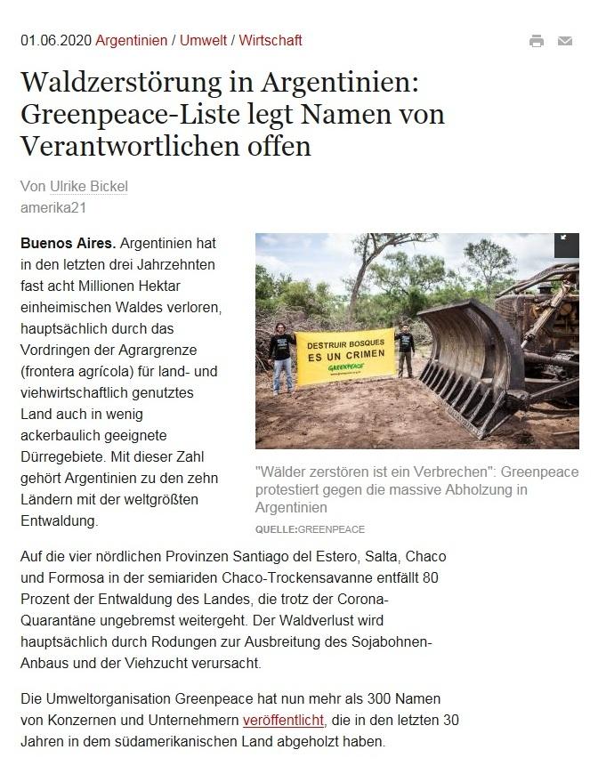 Waldzerstörung in Argentinien: Greenpeace-Liste legt Namen von Verantwortlichen offen - amerika21 - Nachrichten und Analysen aus Lateinamerika - 01.06.2020