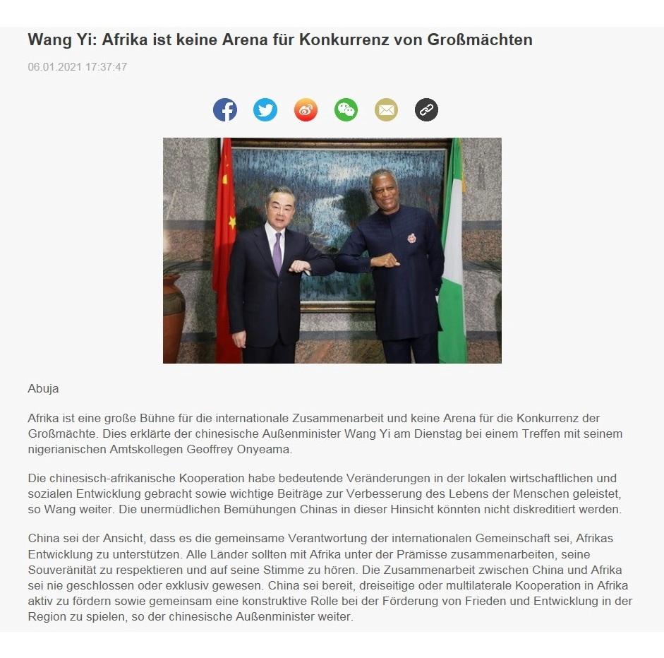 Wang Yi: Afrika ist keine Arena für Konkurrenz von Großmächten - CRI online Deutsch - 06.01.2021 17:37:47
