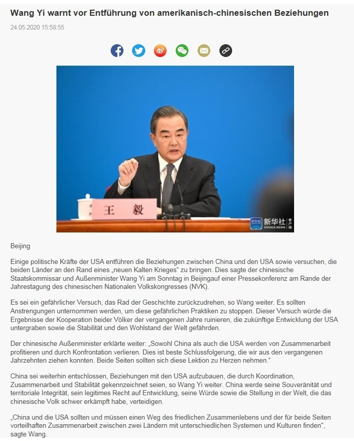 Wang Yi warnt vor Entführung von amerikanisch-chinesischen Beziehungen - CRI online Deutsch - 24.05.2020