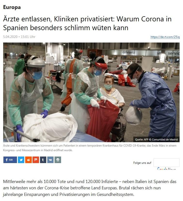 Europa - Ärzte entlassen, Kliniken privatisiert: Warum Corona in Spanien besonders schlimm wüten kann  - RT Deutsch - 5.04.2020