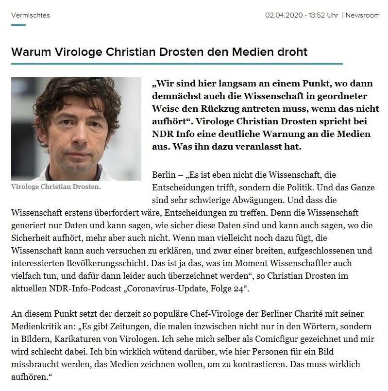Aus dem Posteingang von Dr. Marianne Linke - Warum Virologe Christian Drosten den Medien droht - newsroom.de - 2.04.2020 -  https://www.newsroom.de/news/aktuelle-meldungen/vermischtes-3/warum-virologe-christian-drosten-den-medien-droht-906141/