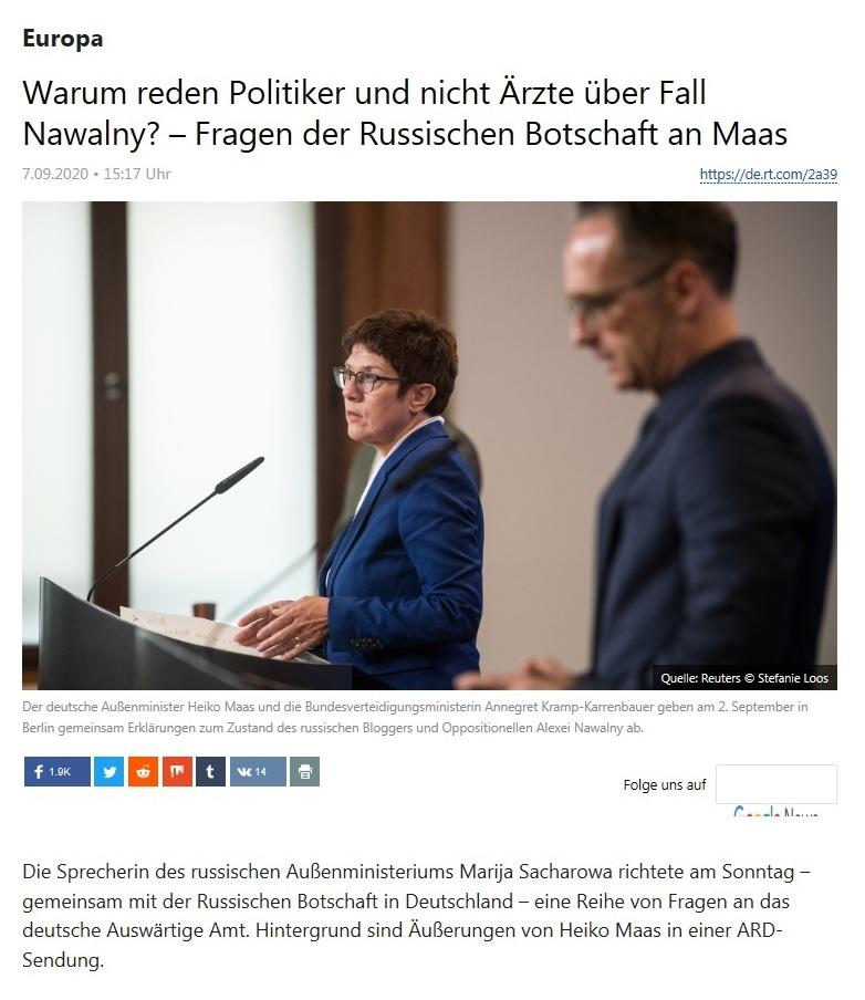 Europa - Warum reden Politiker und nicht Ärzte über Fall Nawalny? – Fragen der Russischen Botschaft an Maas  - RT Deutsch - 07.09.2020
