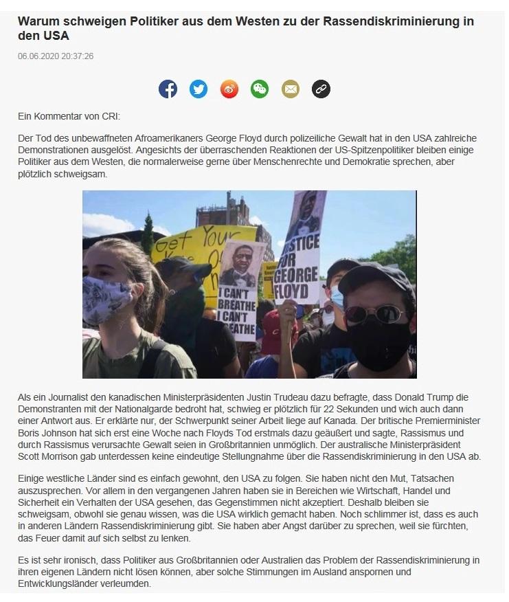 Warum schweigen Politiker aus dem Westen zu der Rassendiskriminierung in den USA - CRI online Deutsch - 06.06.2020