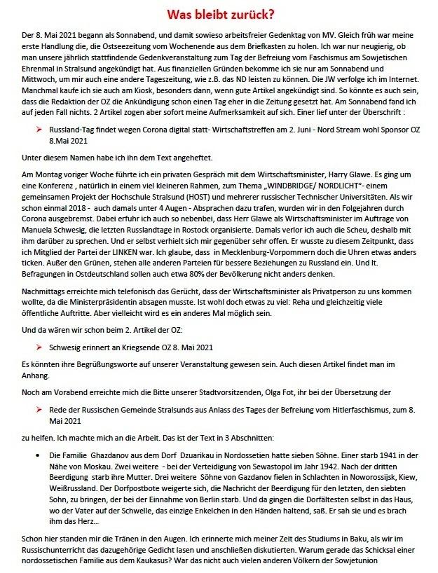 Was bleibt zurück? - Feierliche Kranzniederlegung am 8. 5. 2021 am Sowjetischen Ehrenmal in Stralsund - Aus dem Posteingang von Siegfried Dienel vom 17.05.2021  - Abschnitt 1