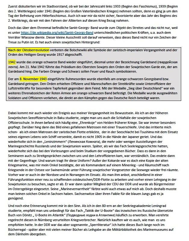 Was bleibt zurück? - Feierliche Kranzniederlegung am 8. 5. 2021 am Sowjetischen Ehrenmal in Stralsund - Aus dem Posteingang von Siegfried Dienel vom 17.05.2021  - Abschnitt 6
