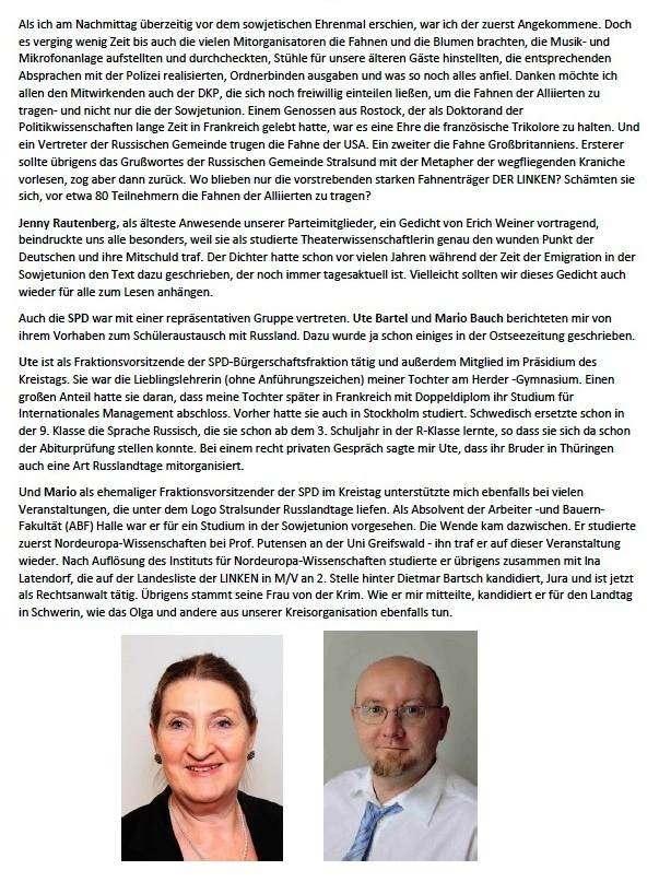 Was bleibt zurück? - Feierliche Kranzniederlegung am 8. 5. 2021 am Sowjetischen Ehrenmal in Stralsund - Aus dem Posteingang von Siegfried Dienel vom 17.05.2021  - Abschnitt 7