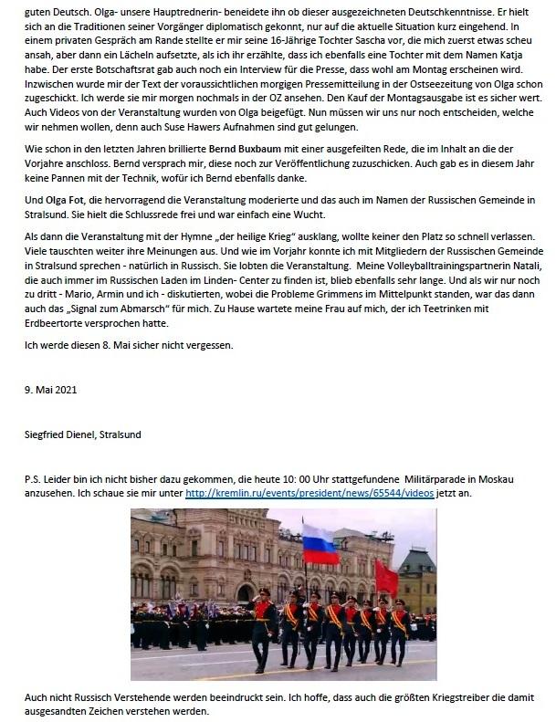 Was bleibt zurück? - Feierliche Kranzniederlegung am 8. 5. 2021 am Sowjetischen Ehrenmal in Stralsund - Aus dem Posteingang von Siegfried Dienel vom 17.05.2021  - Abschnitt 9
