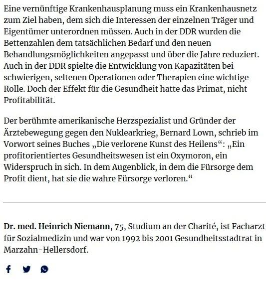Aus dem Posteingang von Egon Krenz - Zeitenwende - Was die DDR in der Seuchenbekämpfung besser machte - DDR-Sozialmediziner Heinrich Niemann fordert viel mehr Corona-Tests, kritisiert Fallpauschalen und fragt sich, warum der Schutz der Gesundheit nicht im Grundgesetz steht - 21.05.2020 - 22.05 Uhr, Heinrich Niemann - Berliner Zeitung - 21.05.2020