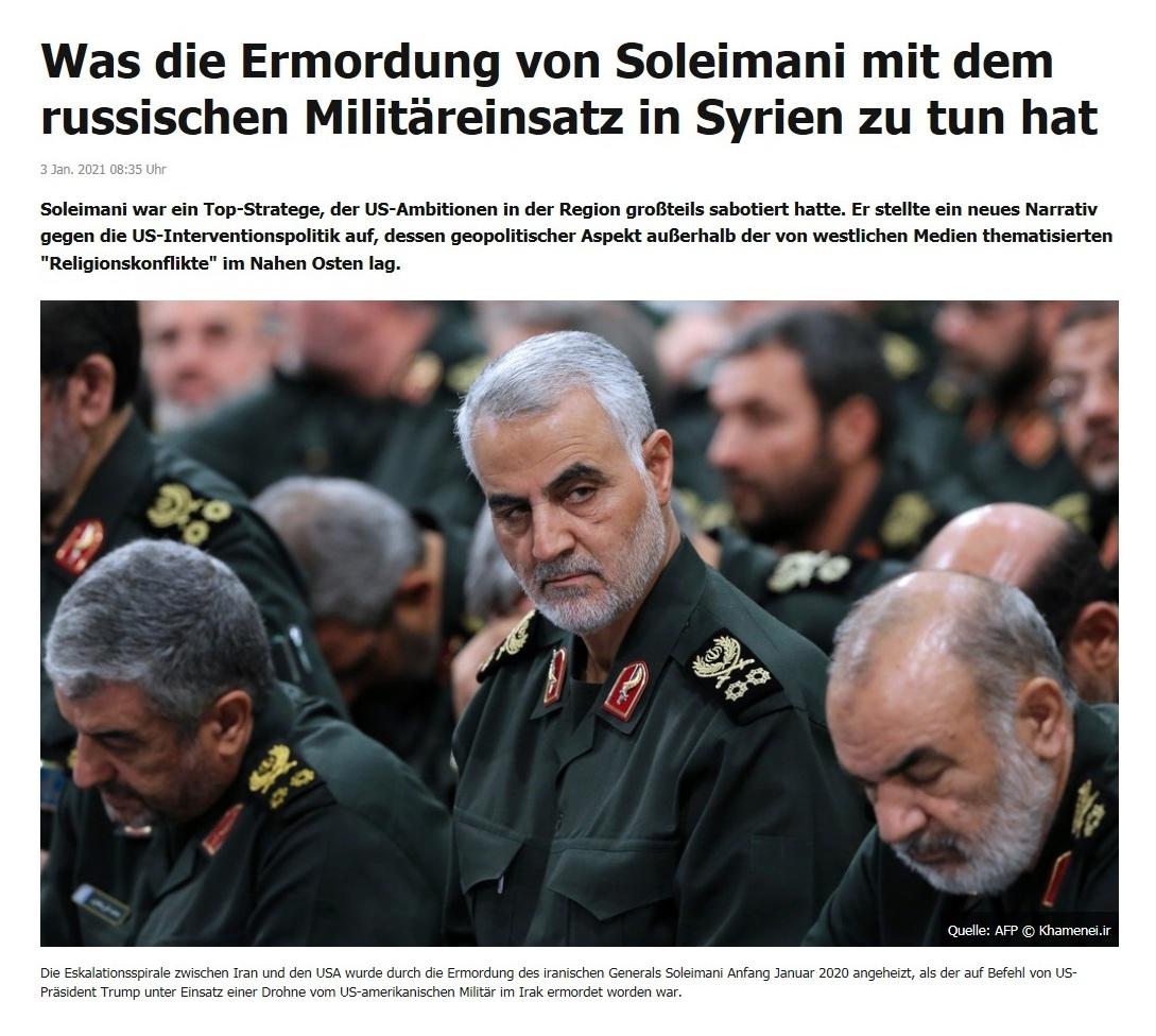 Was die Ermordung von Soleimani mit dem russischen Militäreinsatz in Syrien zu tun hat - RT DE - 3 Jan. 2021 08:35 Uhr