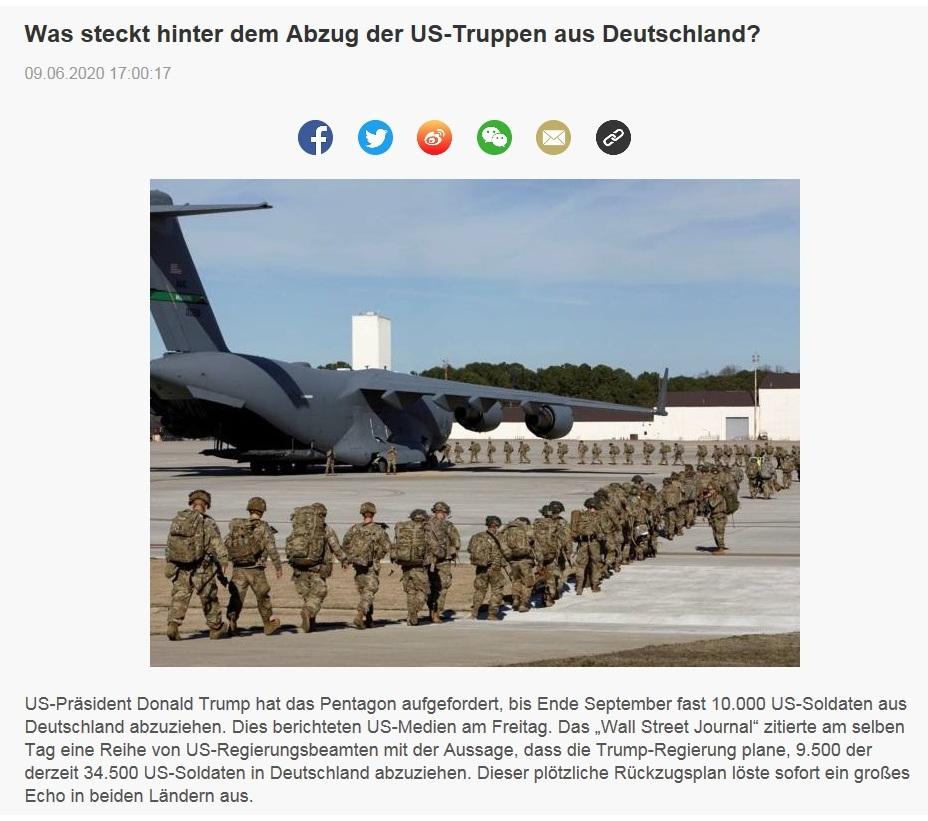 Was steckt hinter dem Abzug der US-Truppen aus Deutschland? - CRI online Deutsch - 09.06.2020