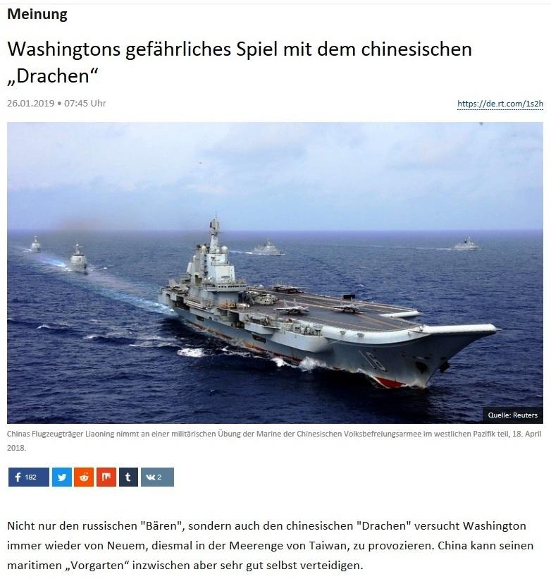 Meinung - Washingtons gefährliches Spiel mit dem chinesischen 'Drachen'