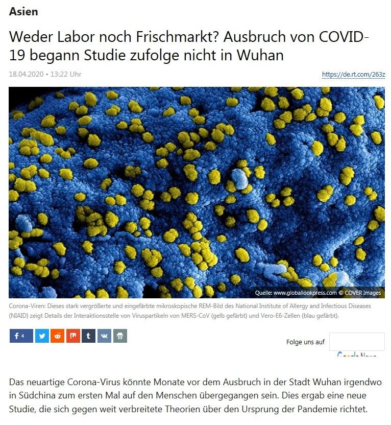 Asien - Weder Labor noch Frischmarkt? Ausbruch von COVID-19 begann Studie zufolge nicht in Wuhan - RT Deutsch - 17.04.2020