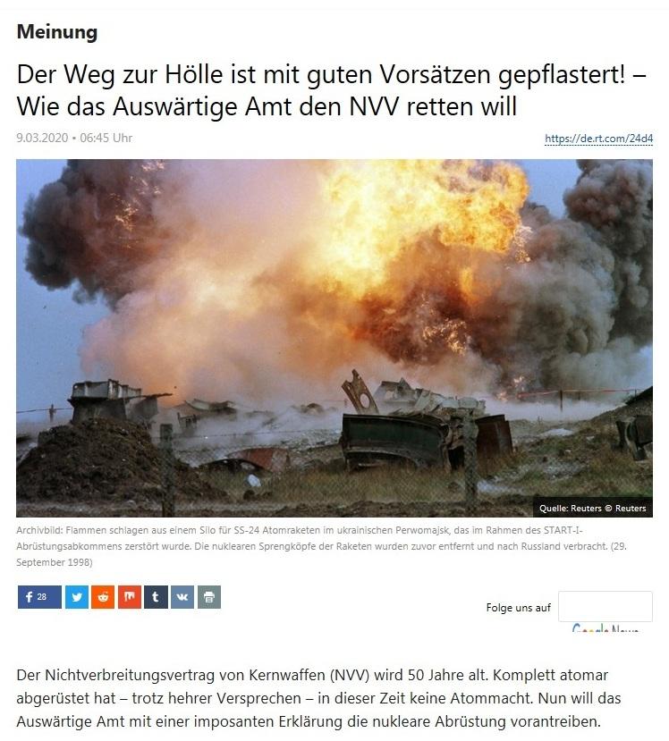 Meinung - Der Weg zur Hölle ist mit guten Vorsätzen gepflastert! – Wie das Auswärtige Amt den NVV retten will  - RT Deutsch - 9.03.2020