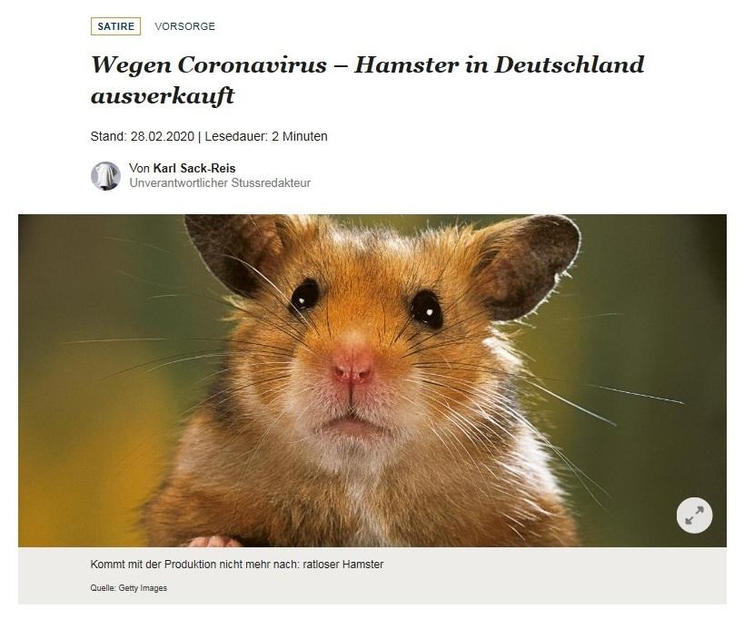 Wegen Coronavirus – Hamster in Deutschland ausverkauft - Welt - Satire - Von Karl Sack-Reis - Unverantwortlicher Redakteur - 28.02.2020