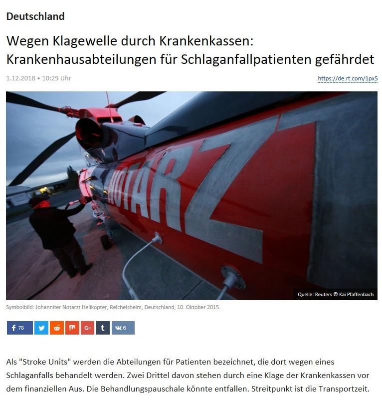 Deutschland - Wegen Klagewelle durch Krankenkassen: Krankenhausabteilungen für Schlaganfallpatienten gefährdet