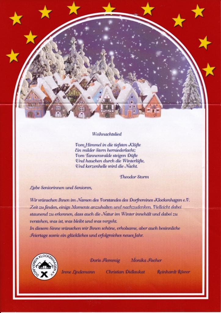 Aus dem Posteingang - Weihnachtswünsche 2020 des Dorfvereins Klockenhagen e. V. an die Seniorinnen und Senioren des Ortes