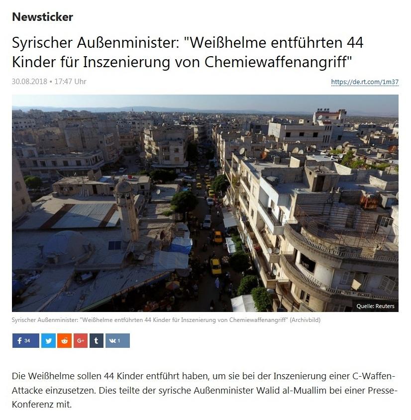 Newsticker - Syrischer Außenminister: 'Weißhelme entführten 44 Kinder für Inszenierung von Chemiewaffenangriff'