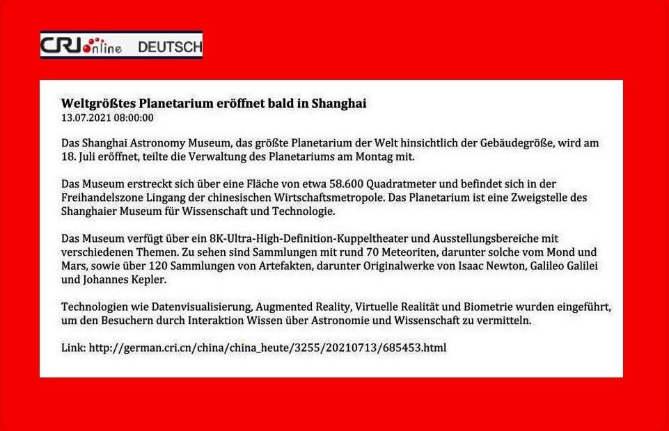 Weltgrößtes Planetarium eröffnet bald in Shanghai - CRI online Deutsch - 13.07.2021 08:00:00 - Link: http://german.cri.cn/china/china_heute/3255/20210713/685453.html