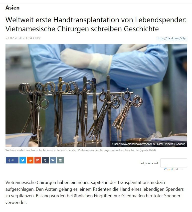 Asien - Weltweit erste Handtransplantation von Lebendspender: Vietnamesische Chirurgen schreiben Geschichte - RT DEUTSCH - 27.02.2020