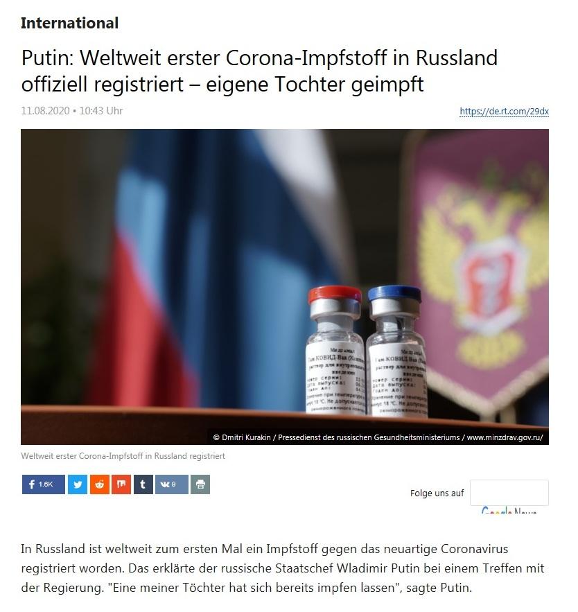 International - Putin: Weltweit erster Corona-Impfstoff in Russland offiziell registriert – eigene Tochter geimpft - RT Deutsch - 11.08.2020
