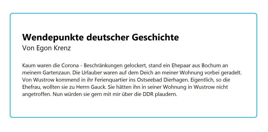 Aus dem Posteingang von Waltraud Tegge - Wortmeldung zu 30 Jahre Wiedervereinigung - Wendepunkte deutscher Geschichte - Von Egon Krenz