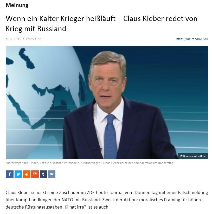 Meinung - Wenn ein Kalter Krieger heißläuft – Claus Kleber redet von Krieg mit Russland