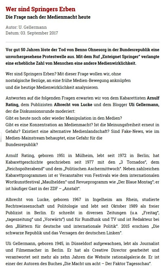 Rationalgalerie.de - Wer sind Springers Erben? - Die Frage nach der Medienmacht heute - Autor: U. Gellermann - Datum: 03. September 2017