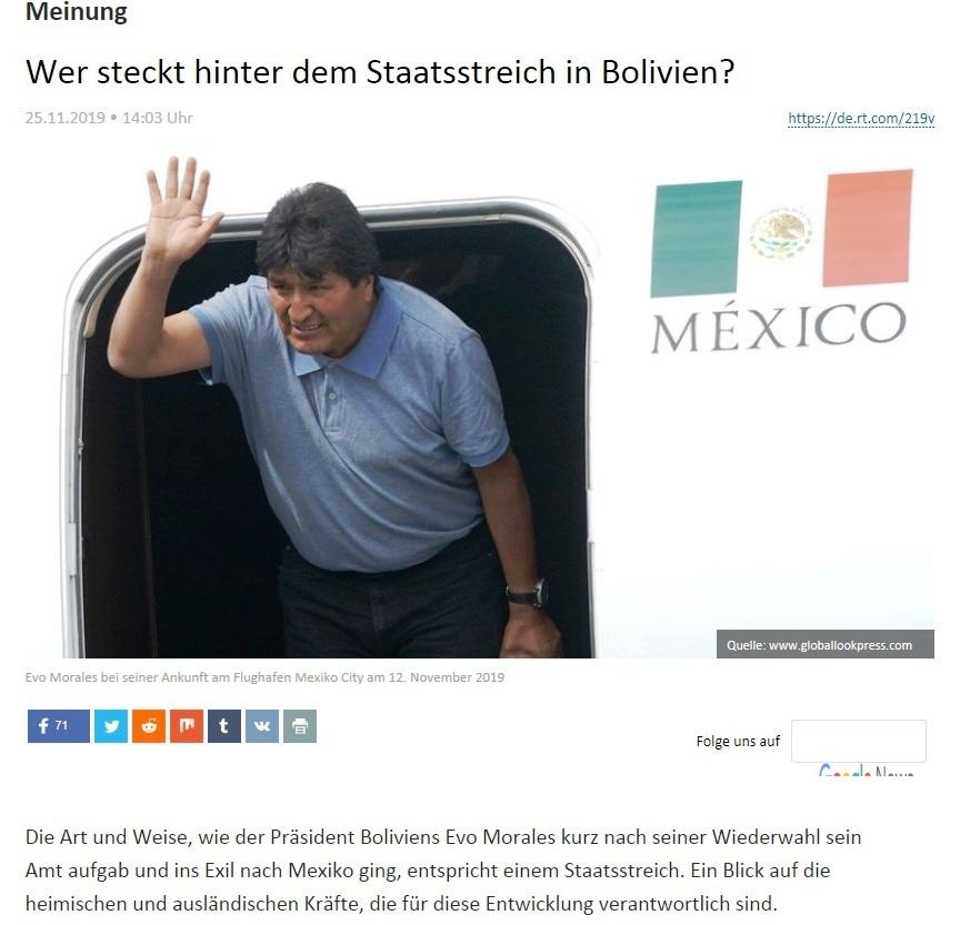 Meinung - Wer steckt hinter dem Staatsstreich in Bolivien?