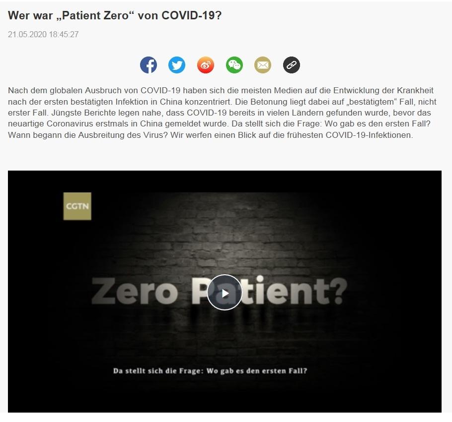 Wer war 'Patient Zero' bei COVID-19 - CRI online Deutsch - 21.05.2020