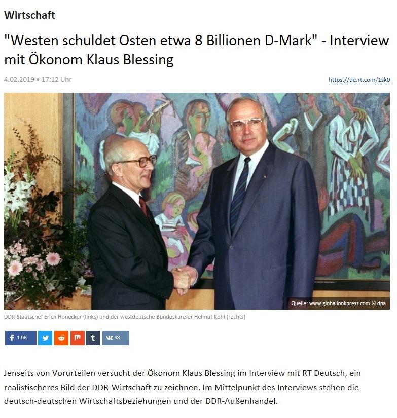 Wirtschaft - 'Westen schuldet Osten etwa 8 Billionen D-Mark' - Interview mit Ökonom Klaus Blessing