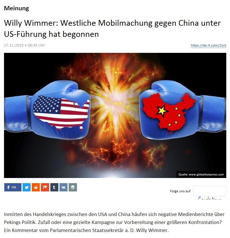 Meinung - Willy Wimmer: Westliche Mobilmachung gegen China unter US-Führung hat begonnen