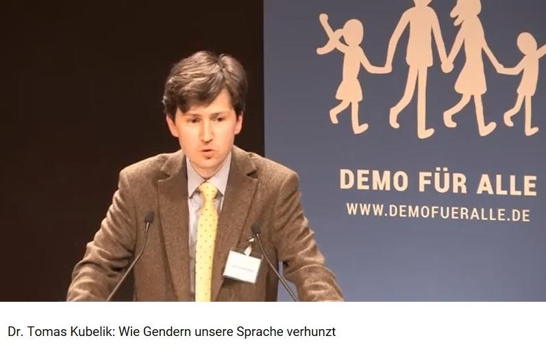 Vortrag von Dr. Tomas Kubelik 'Wie Gendern unsere Sprache verhunzt - Gender und Sexualpädagogik auf dem Prüfstand der Wissenschaften'