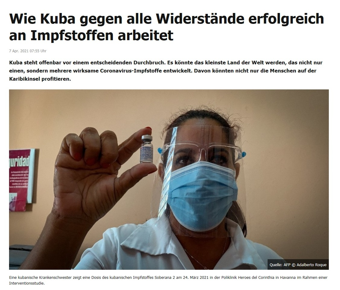 Wie Kuba gegen alle Widerstände erfolgreich an Impfstoffen arbeitet - RT DE -  7 Apr. 2021 07:55 Uhr