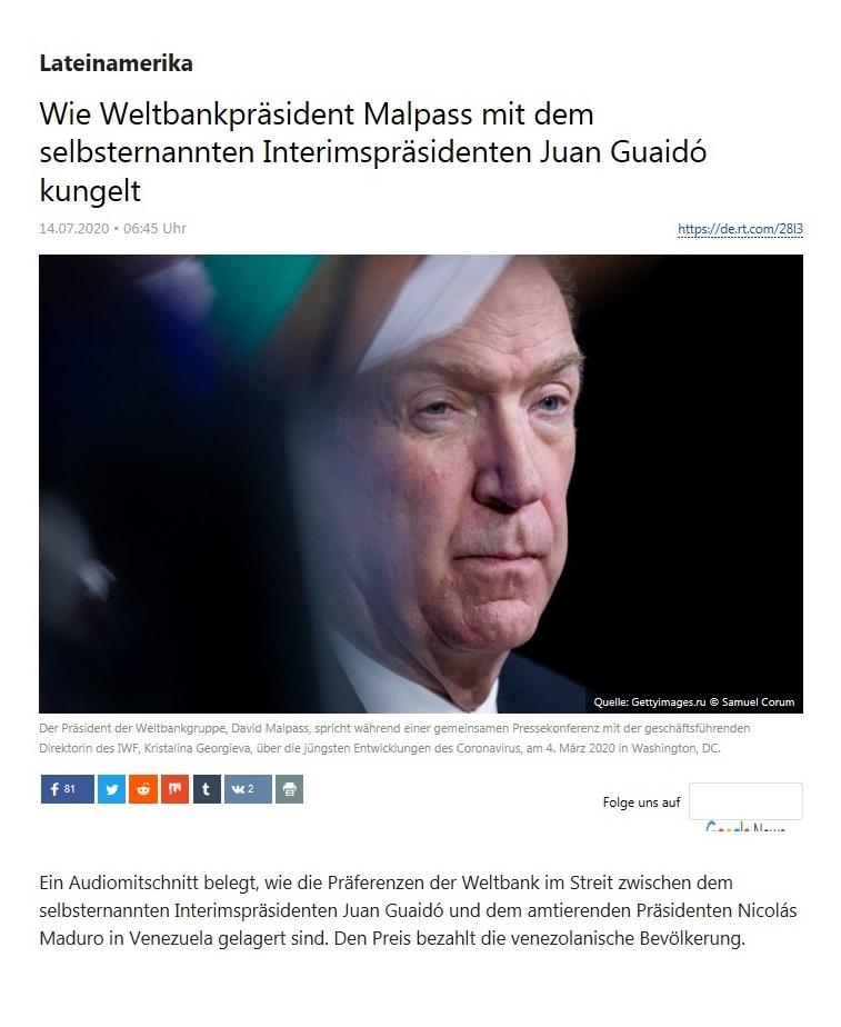 Lateinamerika - Wie Weltbankpräsident Malpass mit dem selbsternannten Interimspräsidenten Juan Guaidó kungelt - RT Deutsch - 14.07.2020