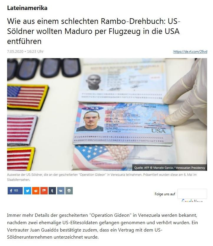 Lateinamerika - Wie aus einem schlechten Rambo-Drehbuch: US-Söldner wollten Maduro per Flugzeug in die USA entführen - RT Deutsch - 07.05.2020