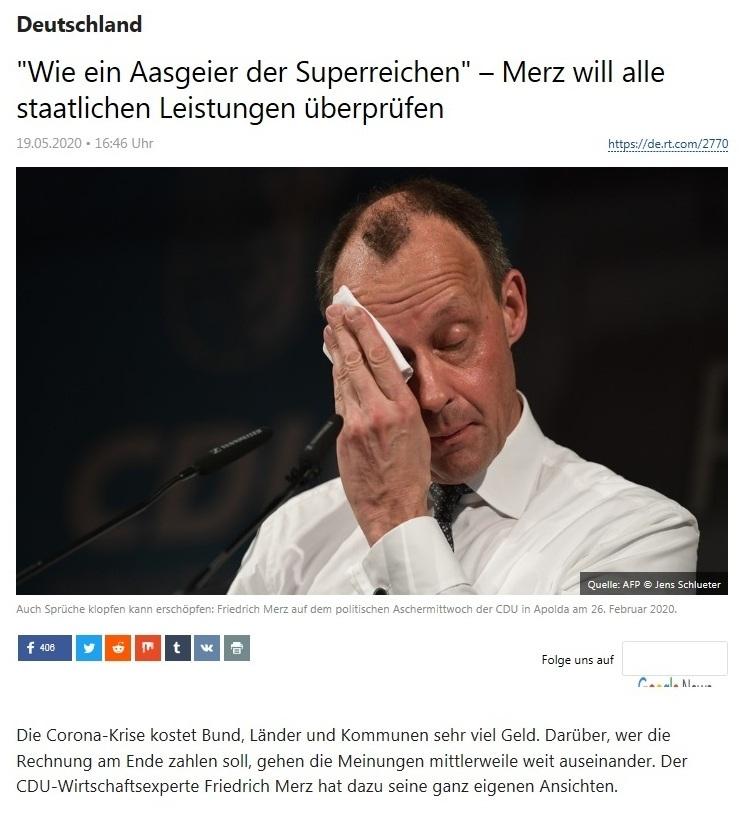 Deutschland - 'Wie ein Aasgeier der Superreichen' – Merz will alle staatlichen Leistungen überprüfen - RT Deutsch - 19.05.2020