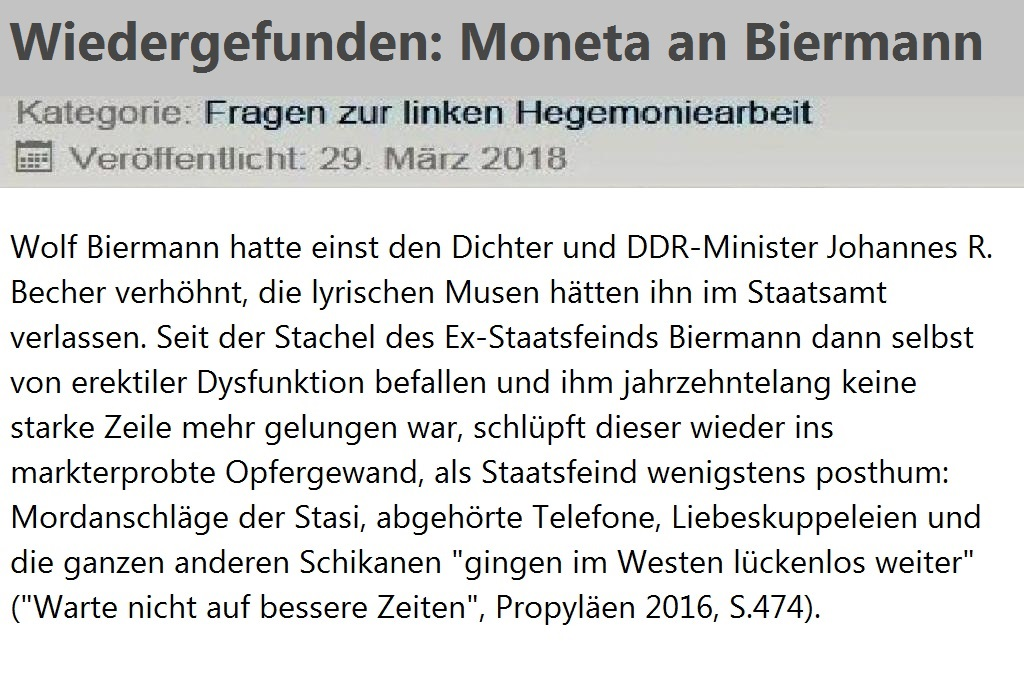 Dr. Diether Dehm (MdB) - Wiedergefunden: Moneta an Biermann - Kategorie: Fragen zur linken Hegemoniearbeit - Veröffentlicht: 29. März 2018