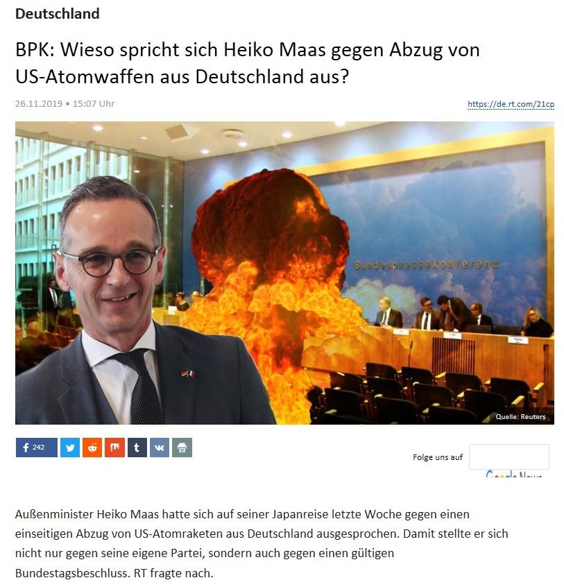 Deutschland - BPK: Wieso spricht sich Heiko Maas gegen Abzug von US-Atomwaffen aus Deutschland aus?