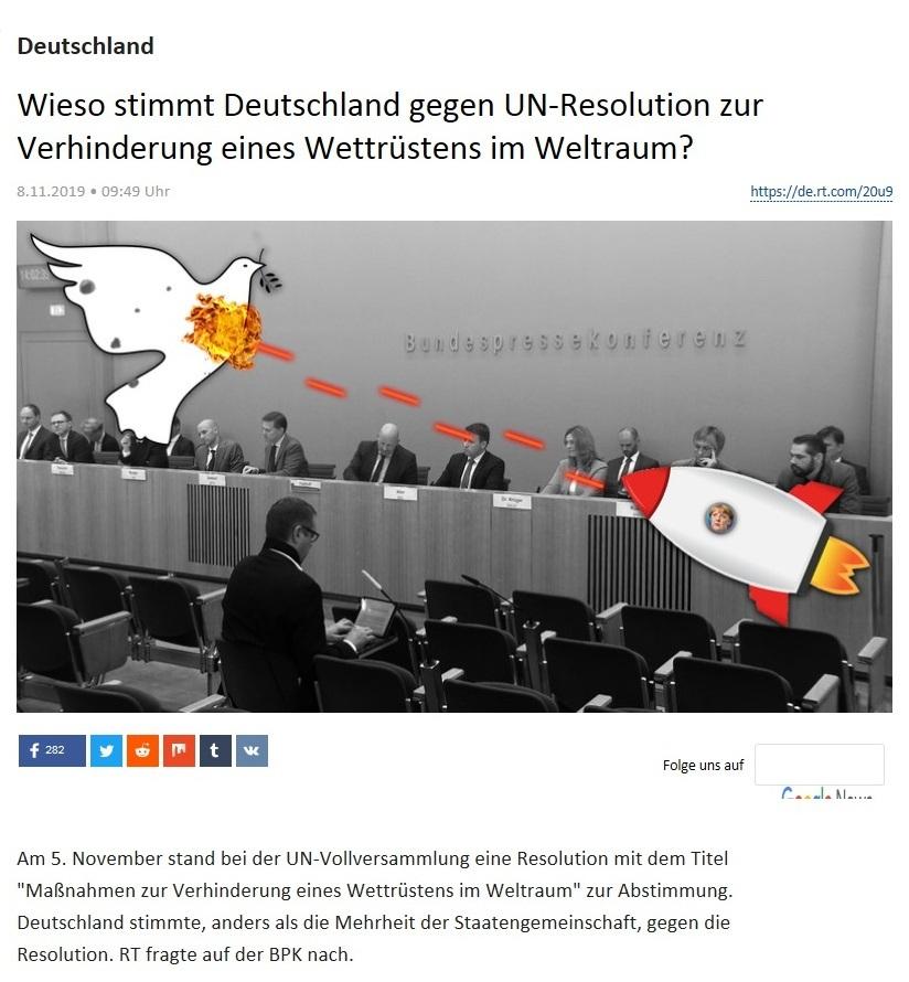 Deutschland - Wieso stimmt Deutschland gegen UN-Resolution zur Verhinderung eines Wettrüstens im Weltraum?