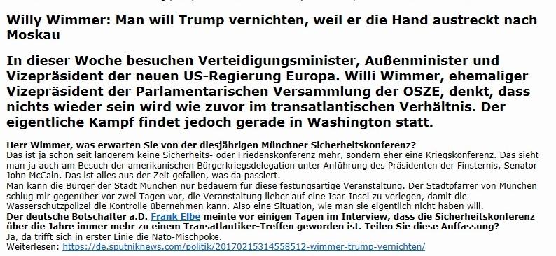 Willy Wimmer: Man will Trump vernichten, weil er die Hand austreckt nach Moskau