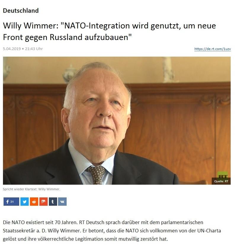 Deutschland - Willy Wimmer: 'NATO-Integration wird genutzt, um neue Front gegen Russland aufzubauen'
