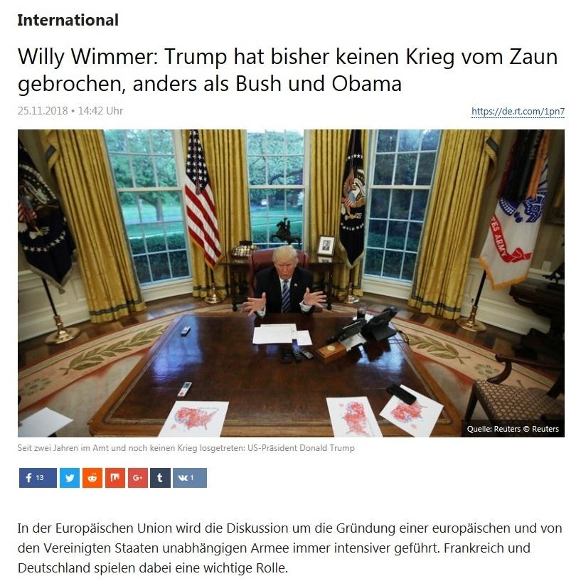 International - Willy Wimmer: Trump hat bisher keinen Krieg vom Zaun gebrochen, anders als Bush und Obama