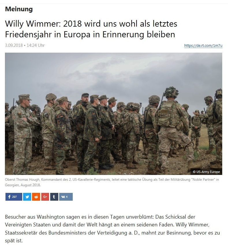 Meinung - Willy Wimmer: 2018 wird uns wohl als letztes Friedensjahr in Europa in Erinnerung bleiben