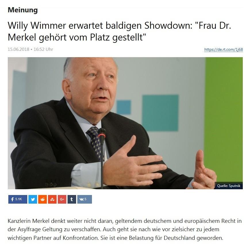 Meinung - Willy Wimmer erwartet baldigen Showdown: 'Frau Dr. Merkel gehört vom Platz gestellt'