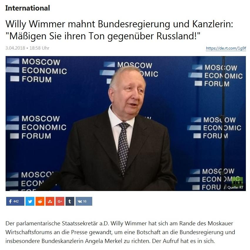 International - Willy Wimmer mahnt Bundesregierung und Kanzlerin: 'Mäßigen Sie ihren Ton gegenüber Russland!'