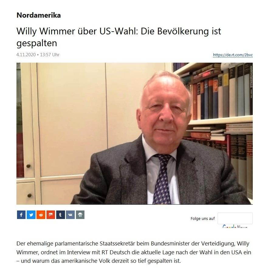 Nordamerika - Willy Wimmer über US-Wahl: Die Bevölkerung ist gespalten - RT Deutsch - 04.11.2020